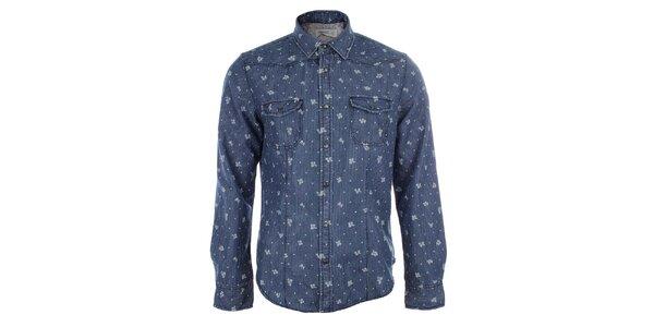 Pánska modrá košeľa so zvislými prúžkami a kvetmi Timeout