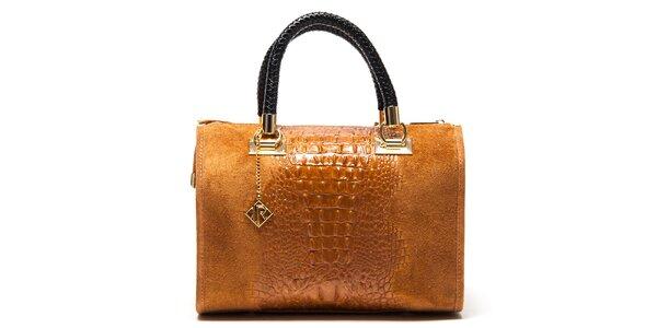 Dámska svetlo hnedá kabelka so vzorom krokodílej kože Isabella Rhea