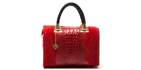 Dámska červená kabelka so vzorom krokodílej kože Isabella Rhea