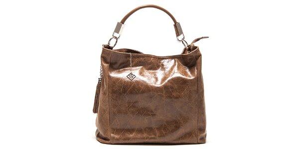 Dámska lesklá hnedá kabelka so strapcami Isabella Rhea