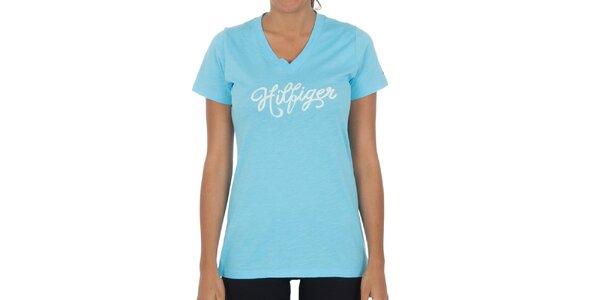 Dámske tyrkysové bavlnené tričko Tommy Hilfiger