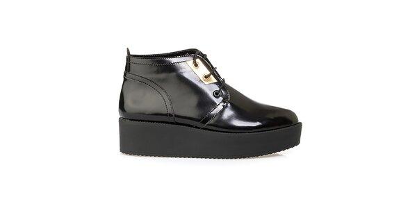 Dámske čierne členkové topánky na platforme Crash Shoes