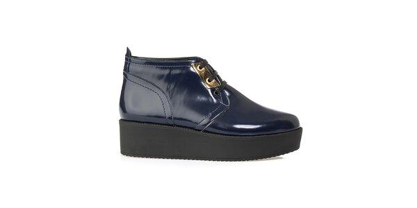 Dámske tmavo modré členkové topánky na platforme Crash Shoes