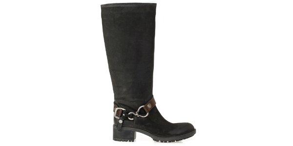 Dámske čierne čižmy s prackou na členku Crash Shoes