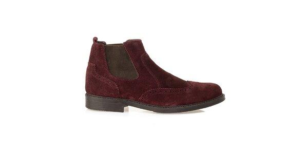 Pánske vínové chelsea topánky Crash Shoes