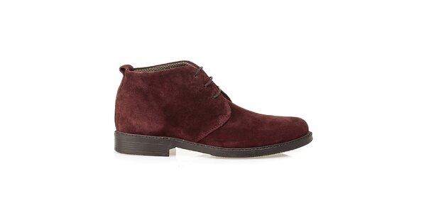 Pánske bordó kožené poltopánky Crash Shoes