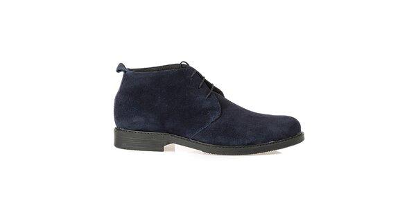 Pánske tmavomodré kožené poltopánky Crash Shoes