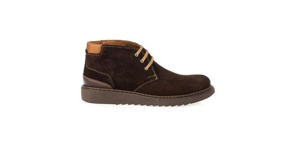 Pánske hnedé členkové topánky Crash Shoes