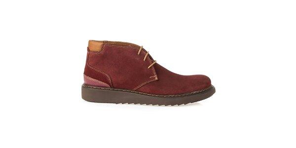 Pánske vínové členkové topánky Crash Shoes