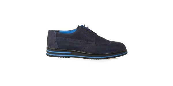 Pánske modré kožené oxfordky s výraznou podrážkou Crash Shoes