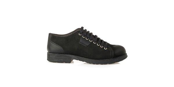 Pánske čierne šnurovacie topánky z kože Crash Shoes