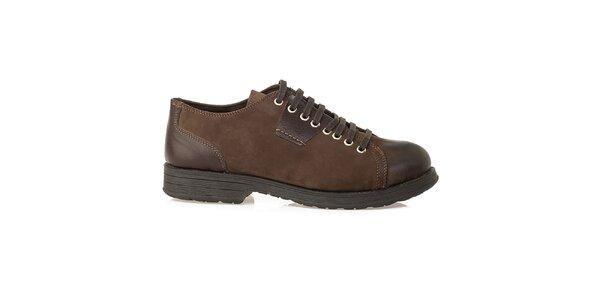 Pánske hnedé šnurovacie topánky z kože Crash Shoes