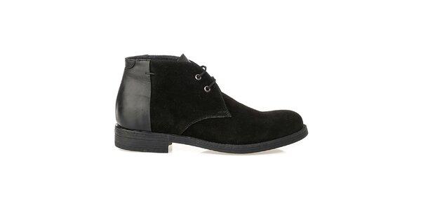 Pánske čierne topánky s lesklou pätou Crash Shoes