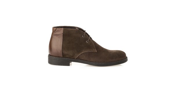 Pánske hnedé topánky s lesklou pätou Crash Shoes