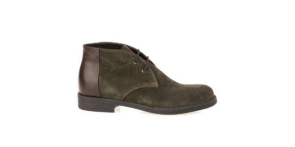 Pánske olivové topánky s lesklou pätou Crash Shoes