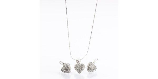 Dámsky set - srdiečkové náušnice a náhrdelník Laura Bruni