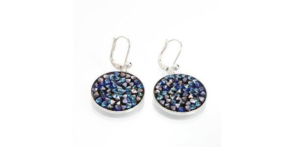 Dámske guľaté náušnice s kryštálmi v modrej farbe Laura Bruni