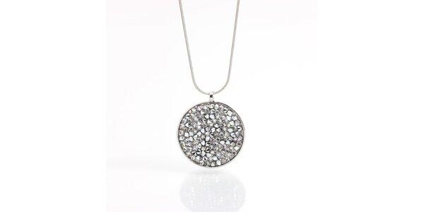 Dámsky náhrdelník s okrúhlym príveskom s kryštálikmi Laura Bruni