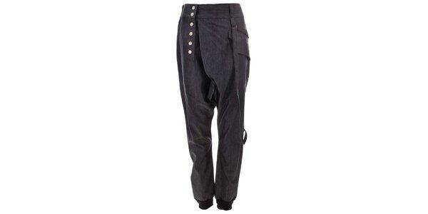 Dámske tmavé nohavice na gombíky Purple Jam