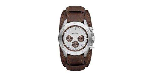Pánske analogové hodinky s hnedým remienok a chronografom Fossil