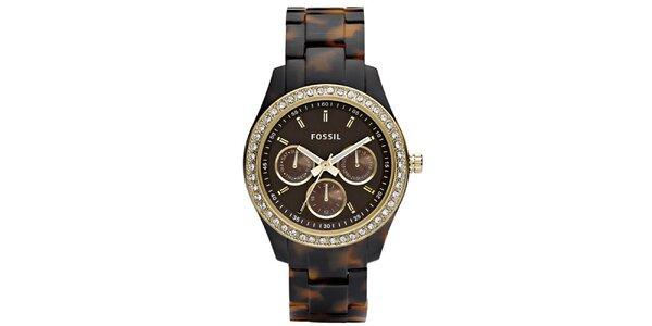 Dámske hnedo žíhané hodinky s kamienkami Fossil