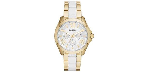 Dámske hodinky v zlato-bielom prevedení Fossil