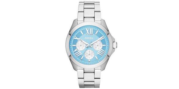 Dámske oceľové hodinky s modrým ciferníkom Fossil