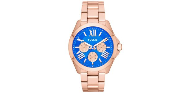 Dámske pozlátené hodinky s modrým ciferníkom Fossil