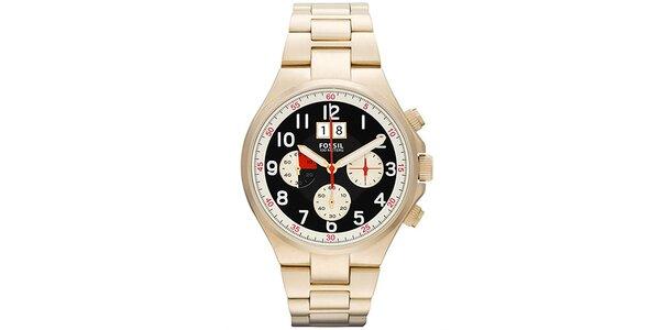Dámske pozlátené hodinky Fossil s chronografom