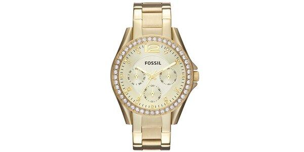 Dámske pozlátené hodinky s bielymi kamienkami Fossil