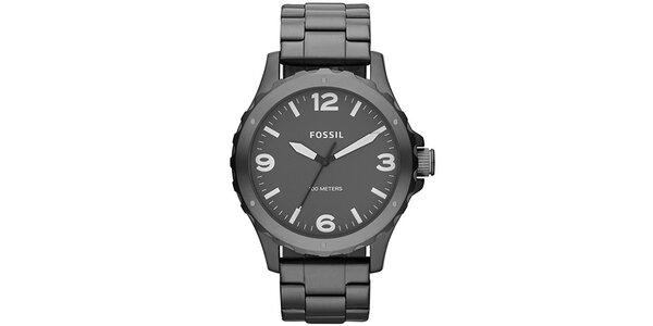 Pánske tmavo šedé hodinky z nerezovej ocele Fossil