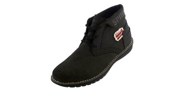 Pánske čierne členkové topánky Crosby