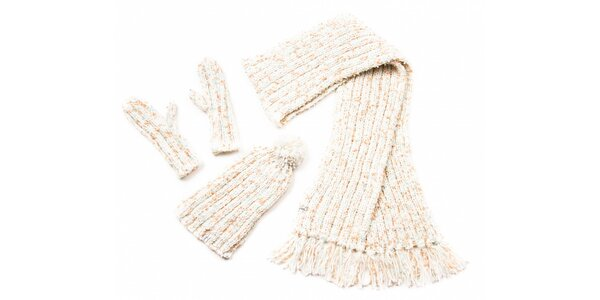 Dámsky krémový pletený set Fundango
