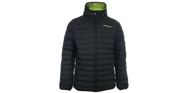 Pánska čierna prešívaná bunda s kapucňou Fundango