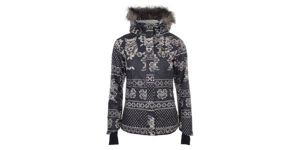 Dámska šedobiela bunda s norským vzorom a kožúškom Fundango