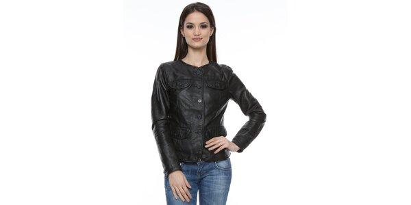 Dámske čierne sako z jahňacej kože Mangotti