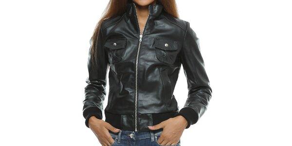 Dámska čierna kožená bunda s vreckami Mangotti
