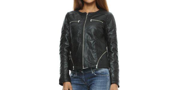 Dámska čierna kožená bunda s prešívaním Mangotti