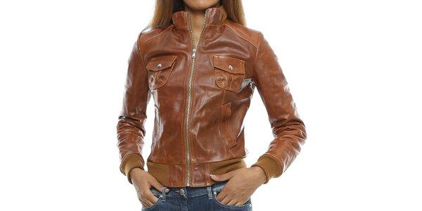 Dámska koňakovo hnedá kožená bunda s vreckami Mangotti