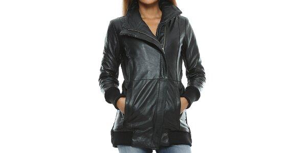 Dámsky čierny kožený kabát s pleteným chrbtom Mangotti