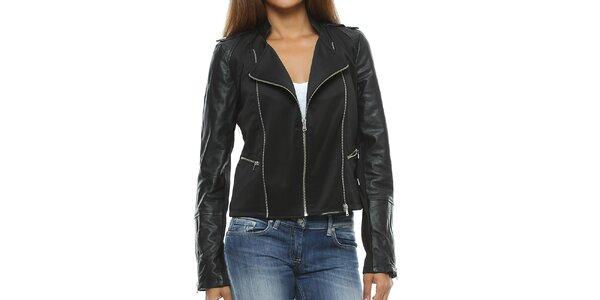 Dámska čierna bunda s koženými rukávmi Mangotti