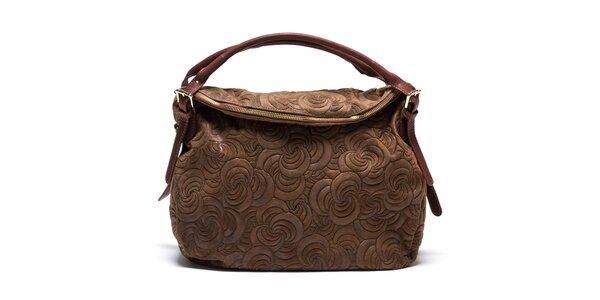 Dámska vzorovaná kožená kabelka v hnedej farbe Mangotti