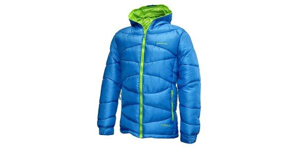 Pánska modrá prešívaná bunda so zeleným zipsom Envy