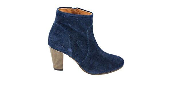 Dámske tmavo modré semišové členkové topánky na opätku Eye