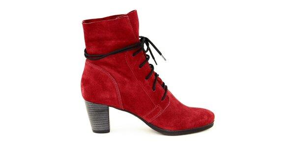 Dámske červené semišové šnúrovacie topánky Eye
