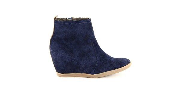 Dámske modré kožené členkové topánky na kline Eye