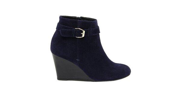 Dámske semišové modré členkové topánky na kline Eye