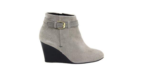 Dámske semišové šedé členkové topánky na kline Eye