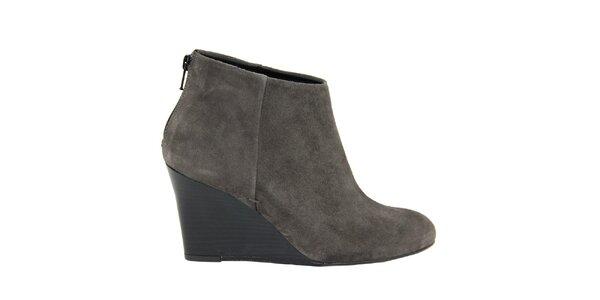 Dámske šedé semišové topánky na kline Eye