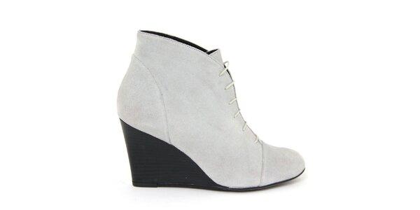 Dámske biele šnurovacie semišové topánky na kline Eye